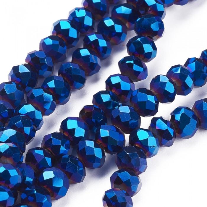 Бусины Гальваника Стекло, Граненые, Рондель, Цвет: Синий, Размер: 8x6-7мм, Отв-тие: 1мм, около 72шт/49см/нить