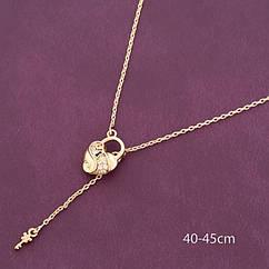 Подвеска Сердце с Ключом Xuping, Эко Латунь + Фианиты, Покрытие Золото 18К, Гипоаллергенная, Размер Кулона: