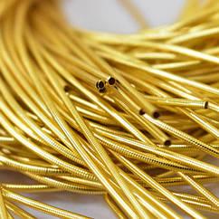 Канитель Гладкая 1.5мм, Цвет: Желтое Золото, отрезки не менее 10см, около 465см/10г, 10 г