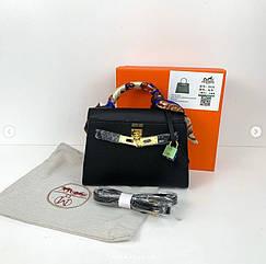 Сумка реплика Гермес Биркин 20см с брелком + коробка с лого / натуральная кожа (264) Черный
