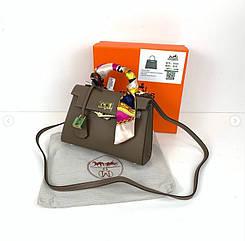 Сумка реплика Гермес Биркин 20см с брелком + коробка с лого / натуральная кожа (264) Бежевый