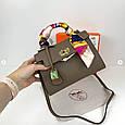 Сумка реплика Гермес Биркин 20см с брелком + коробка с лого / натуральная кожа (264) Бежевый, фото 5