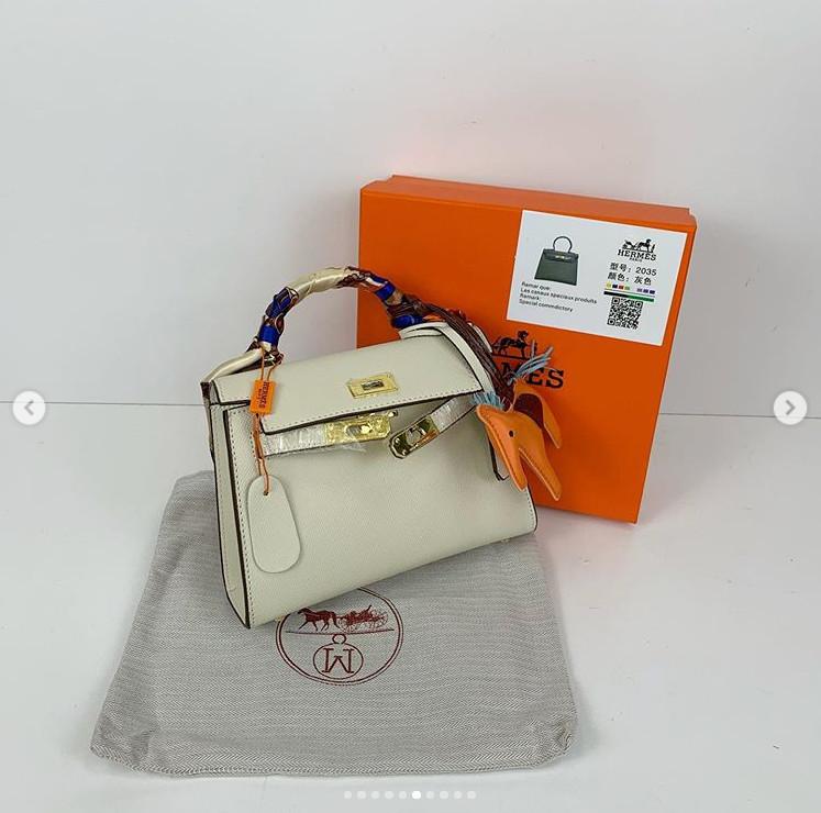 Сумка реплика Гермес Биркин 20см с брелком + коробка с лого / натуральная кожа (264) Белый