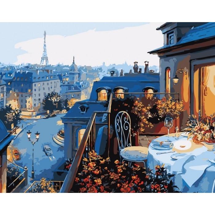 """Набір для розпису по номерах. Міський пейзаж """"Вид на Париж"""" 40*50см"""