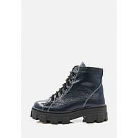 Зимові лакові черевики синього кольору