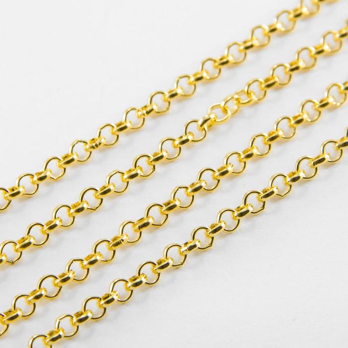 Цепь Якорное Плетение, Железо, Цвет: Золото, Звено: 3х3мм, Толщина 1мм/ Упак.: 5 м
