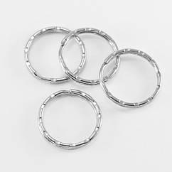 Кольцо Замочек, для Брелков и Ключей, Железное, Цвет: Платина, Диаметр 25мм, Толщина 1.5мм, 50 шт