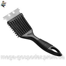 Щетка металлическая со скребком, универсальная, проволка покрытая латунью, пластиковая рукоятка