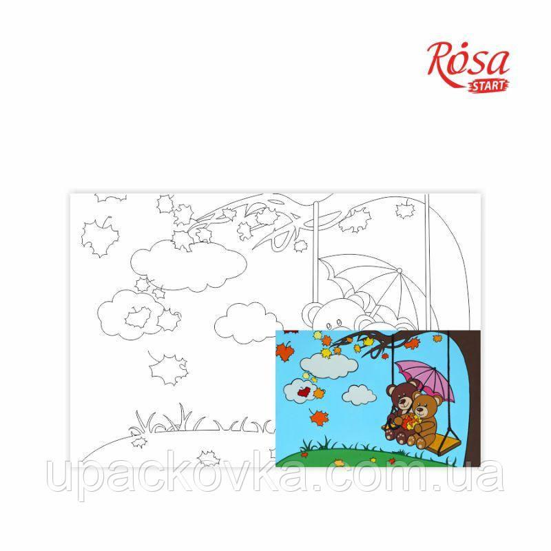 Холст на картоне с контуром, Мультфильм №25, «Мишки на качелях», 20*30, хлопок, акрил, ROSA START