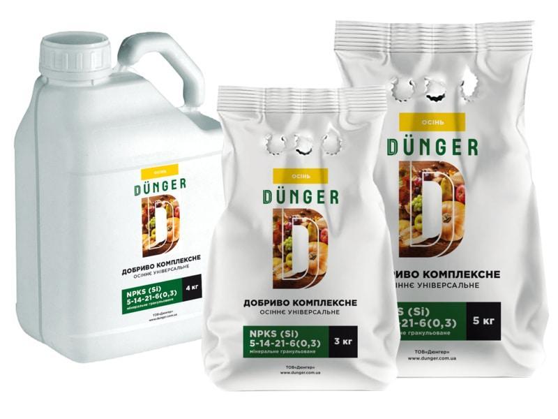 Добриво Дюнгер осіннє універсальне 4 кг 5N-14P-21K +6S+0,3Si комплексне  мінеральне гранульоване в каністрі -