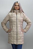 Длинная женская стеганная куртка осенняя Весенняя женская куртка бежевая