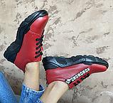 Кросівки жіночі натуральна шкіра червоні, фото 5