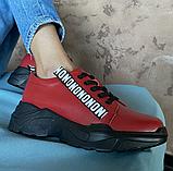 Кросівки жіночі натуральна шкіра червоні, фото 2