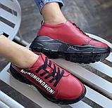 Кросівки жіночі натуральна шкіра червоні, фото 7