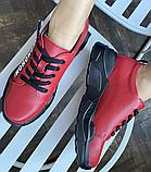 Кросівки жіночі натуральна шкіра червоні, фото 3