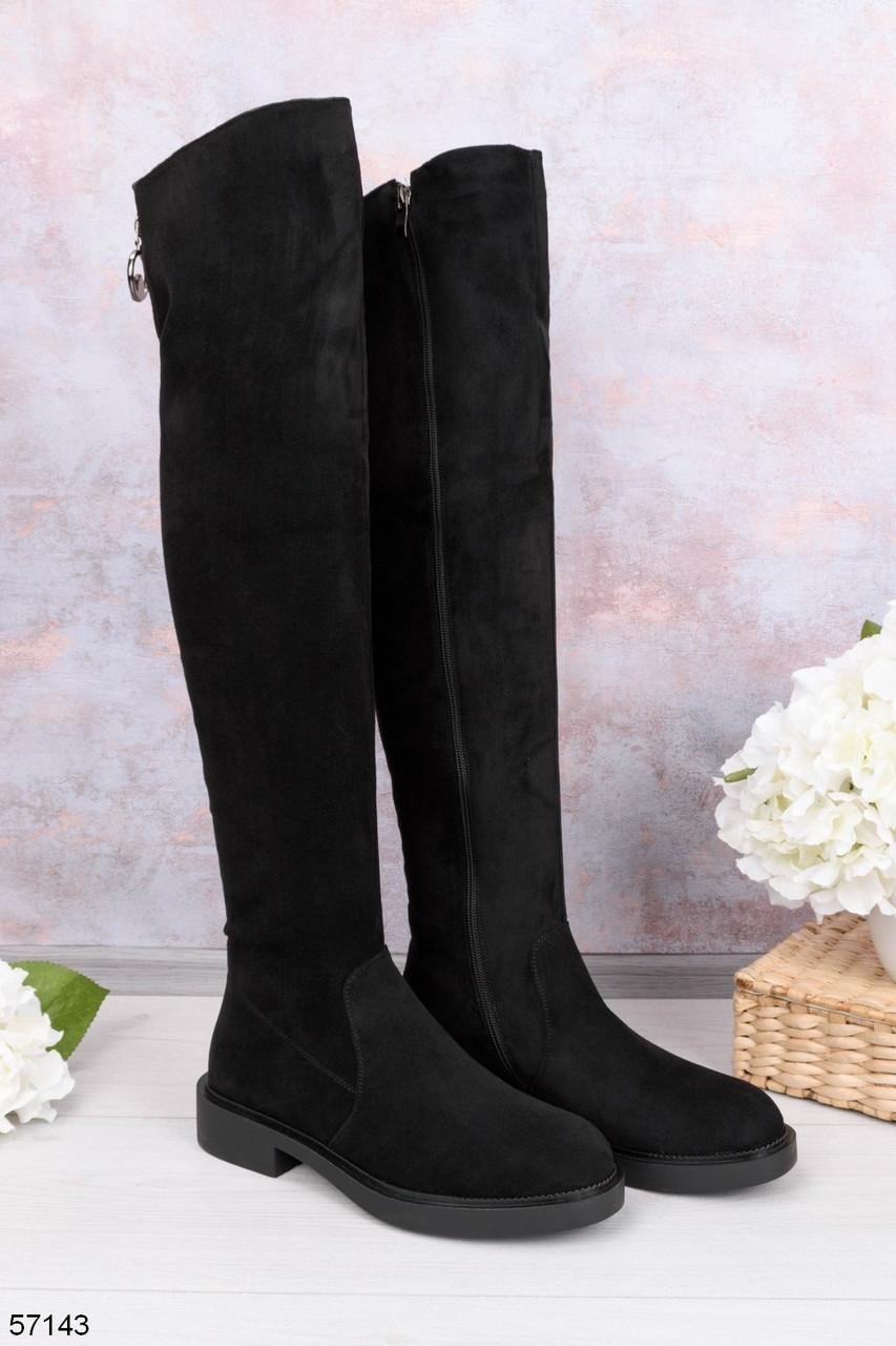 Женские черные ДЕМИ / осень сапоги- ботфорты на каблуке 3 см эко- замш
