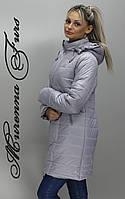 Длинная женская стеганная куртка осенняя Весенняя женская куртка светлая