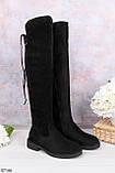 Женские черные ДЕМИ / осень сапоги- ботфорты на каблуке 3 см эко- замш, фото 2