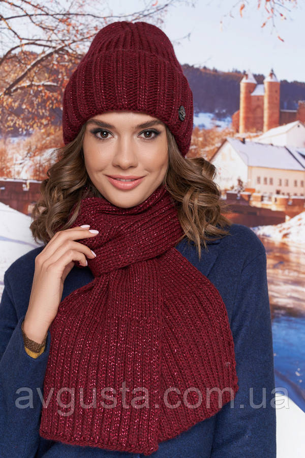 Комплект «Наоми» (шапка и шарф) (бордовый) Braxton