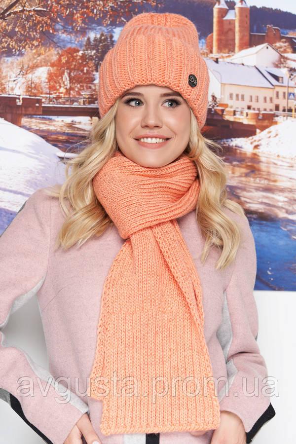 Комплект «Наоми» (шапка и шарф) (персиковый) Braxton