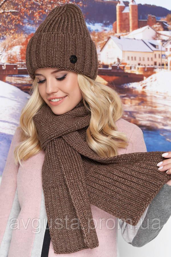 Комплект «Наоми» (шапка и шарф) (светло-коричневый) Braxton