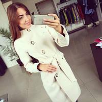 Пальто женское стильное демисезонное бежевое