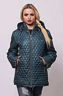 Женская демисезонная куртка большой размер осень весну бирюзовая