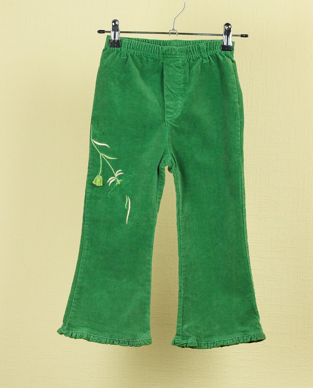 Брюки д/дев вельвет зеленые  (р.105-110)