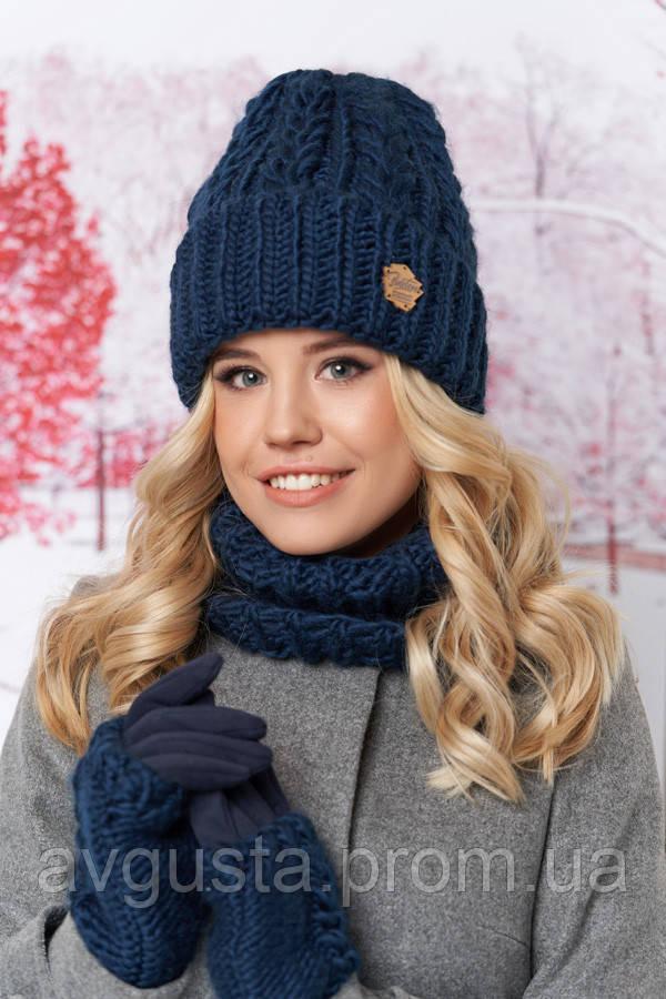 Комплект «Агнес» (шапка, хомут и перчатки)  (джинсовый) Braxton