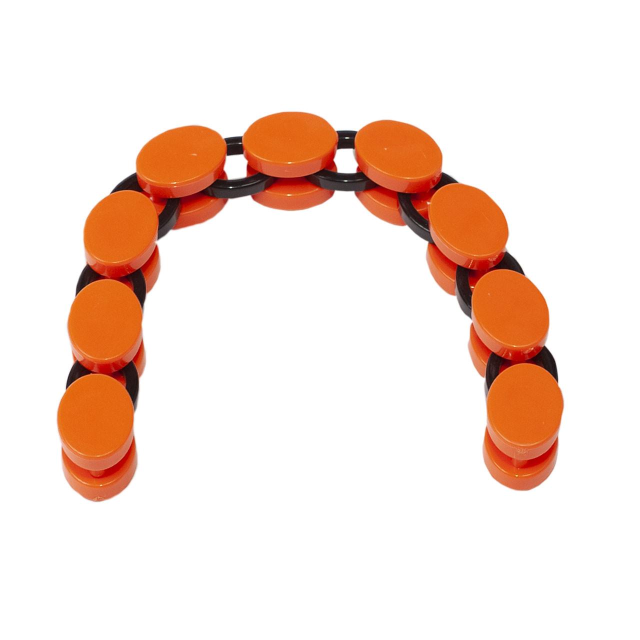 Ручка цепь для сумки пластиковая оранж+черный 9 колец 30,5х2,5 см