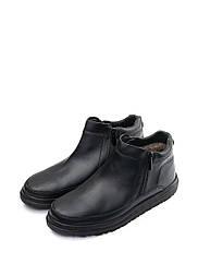 Мужские кожаные ботинки на меху Tellus 05-01MB черные