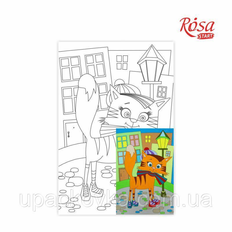 Холст на картоне с контуром, Мультфильм №28, «Кот на прогулке», 20*30, хлопок, акрил, ROSA START