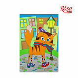 Холст на картоне с контуром, Мультфильм №28, «Кот на прогулке», 20*30, хлопок, акрил, ROSA START, фото 2