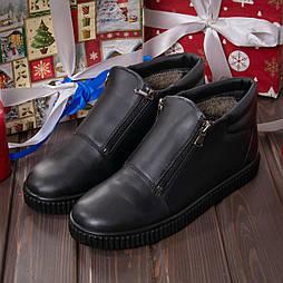 Мужские кожаные ботинки на меху Tellus 00021MB черные