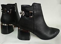 Кожаные женские ботильоны закрытые туфли ботиночки 193084 37
