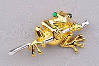 Яркая брошь- золотая жабка от студии LadyStyle.Biz