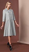 Стильное серое шерстяное платье с оборкой Мирелла