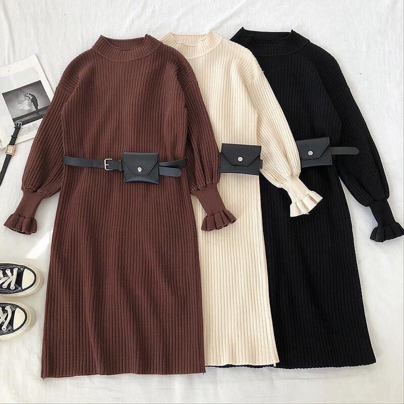 Женское тепленькое платье в рубчик с горлышком идеальной посадки , ремень-кошелёк в комплекте