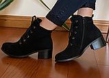 Черевики замшеві класичні жіночі чорні, фото 4