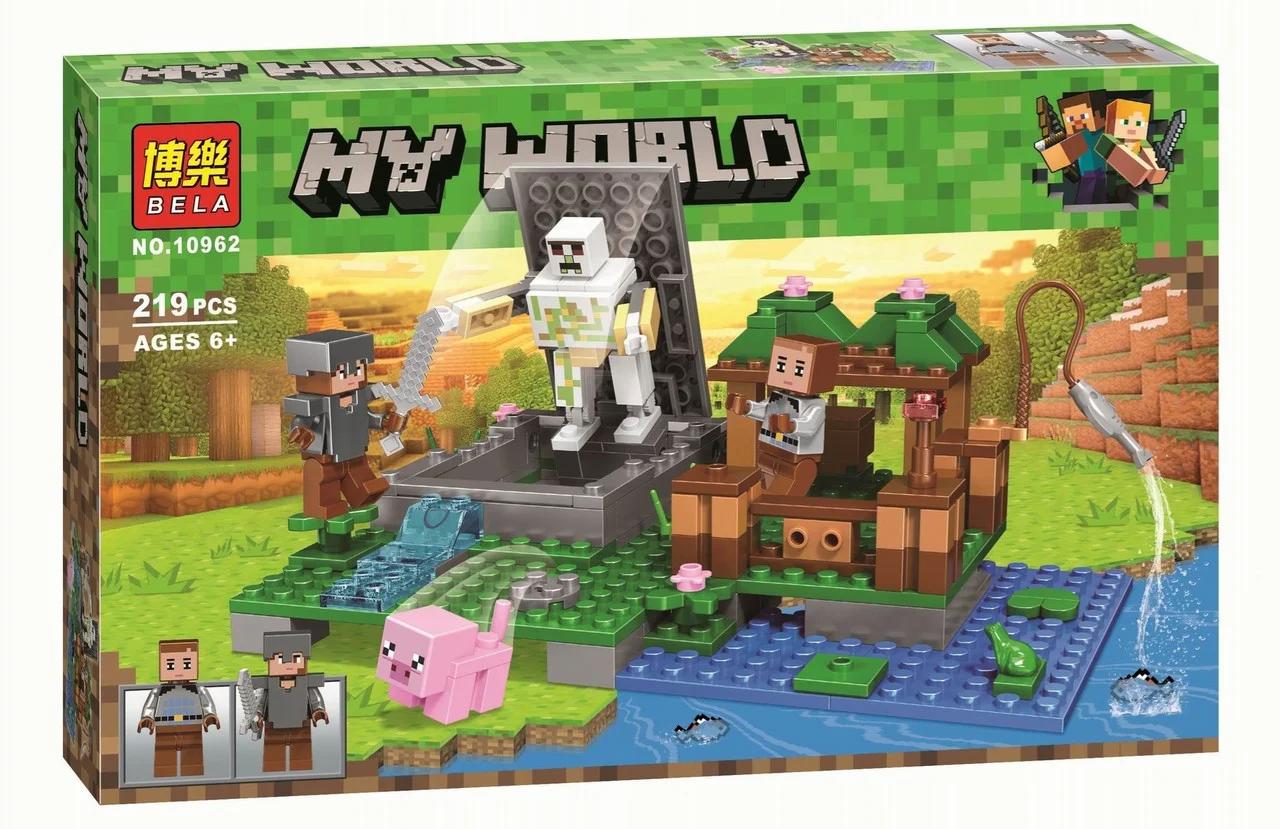 """Конструктор майнкрафт  BELA Minecraft """"Голем на ферме"""" 219 деталей"""