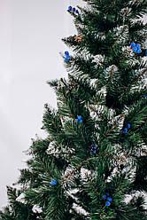 Ялинка штучна Різдвяна (Елітна) блакитна калина+шишки 3м Зелена з білими кінчиками