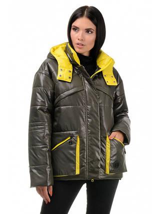 Куртка демисезонная (хаки - желтый), фото 2