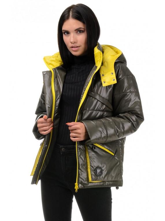 Куртка демисезонная (хаки - желтый)
