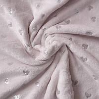 Плюш світло-рожевий з глиттерными сердечками, ш. 80 см, фото 1