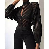 Женская черная блуза в полоску полупрозрачная с длинным рукавом фонариком (р. 42-44) 83BL418, фото 1