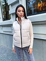 Женский плащевый стеганный жилет на силиконе с карманами и на молнии 65ZH48, фото 1