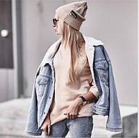 Утепленная женская джинсовая куртка на белом экомеху (р. единый 42-46) 48KU471, фото 1