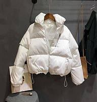 Женская короткая зимняя куртка на молнии и затяжках, воротник стойка (р. 42-46) 48KU472, фото 1