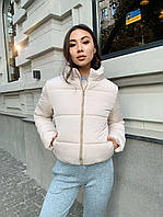 Женская короткая зимняя куртка без капюшона на силиконе с воротником стойкой 65KU473, фото 1