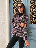 Женский твидовый пиджак двубортный с асимметрией 22KA300, фото 1